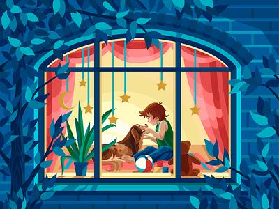 Light window dog room leaves trees night exterior childhood window vectorillustration gameillustration evening gallerythegame coloringbook beresnevgames vector artwork decorative illustration vector illustration