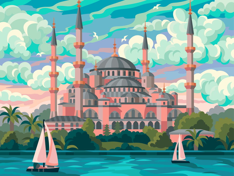 Sultan Ahmed Mosque yacht pink architecture landscape small the clouds evening gameillustration vectorillustration gallerythegame coloringbook beresnevgames vector artwork decorative illustration vector illustration