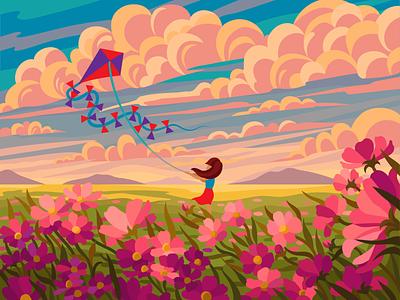 Girl and flower field nature illustration coloring flat illustration pink sky wind vector illustration clouds kite landscape nature flowers gameillustration evening gallerythegame coloringbook beresnevgames vector artwork decorative illustration vector illustration