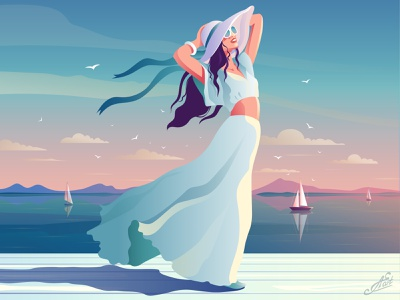 Sea holidays vacation rest sea life girl character seascape sea girl illustration the girl in the hat girl sea sunset branding nature illustration illustration art design vectorillustration evening vector artwork decorative illustration vector illustration