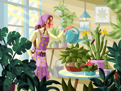 Home garden greenhouse gardening room girl character home flowers girl flowers gameillustration vectorillustration gallerythegame coloringbook beresnevgames vector artwork decorative illustration vector illustration