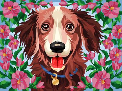 Beautiful dog brown adobe illustrator pet dog illustration dog flowers gameillustration vectorillustration gallerythegame coloringbook beresnevgames vector artwork decorative illustration vector illustration