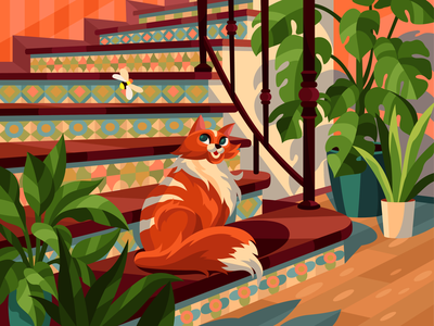 Cat on stairs bee interior red indoor plants stairs room cat illustration cat evening gameillustration vectorillustration gallerythegame coloringbook beresnevgames vector artwork decorative illustration vector illustration