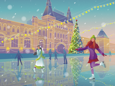 Ice rink the girl holidays weekends evening new year 2019 winter sports winter new year ice rink design vector artwork decorative illustration vector illustration