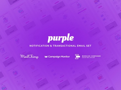 Purple - Notification Email Set with Online Builder emailbuilder responsive psd2newsletters newsletter multipurpose startup fashion emailtemplate ecommerce dragdrop creative modulescomposer campaignmonitor builder