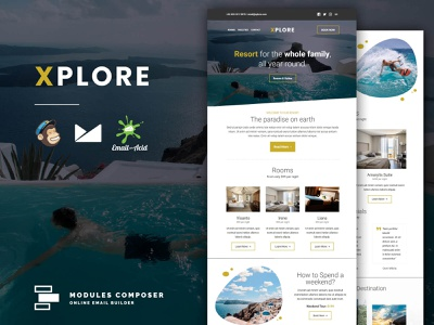 XPLORE - Responsive Email Template for Booking & Traveling emailbuilder responsive psd2newsletters newsletter multipurpose startup fashion emailtemplate traveling dragdrop booking modulescomposer campaignmonitor builder