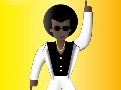Afro 70's hair dance design color lens fever saturday yellow music disco black 70