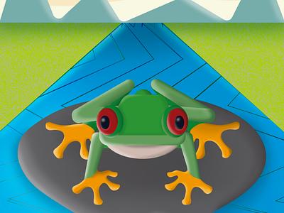 Frog simetric background eyes animal skin green aqua color design sapo rana sun river green ilustration frog