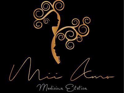 Mii Amo logo girls grecia background black amo design medicine gold aesthetic