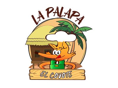 El coyote background food restaurant palapa boceto fullcolor color animal coyote tacos design logotype