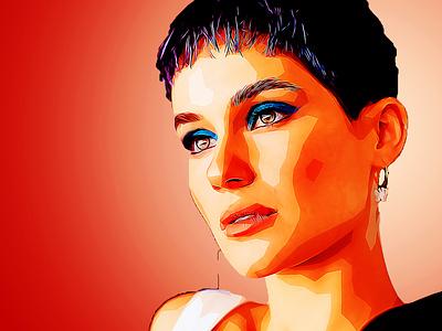 A lady sublime illustration black draw boceto dibujo color background design