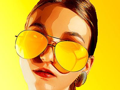 In yellow black illustration draw boceto dibujo color background design