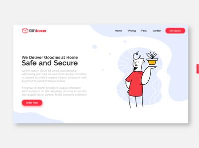 Delivery Box UI Web Page minimal design landing page web page ui