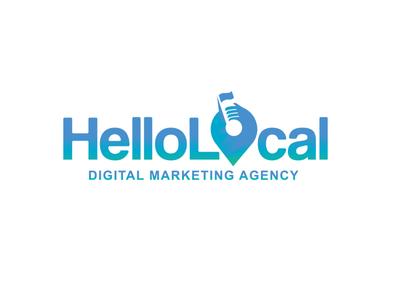 Hello Local Logo Minimal - Color Combined Edition design brand gps location pin logo
