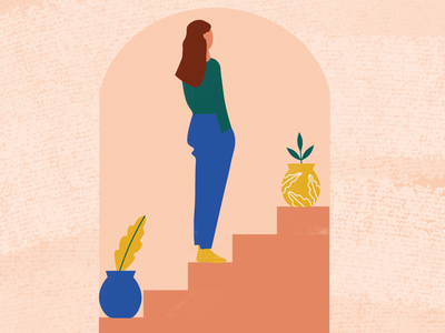 Woman in Doorway architecture plant design pastels illustration
