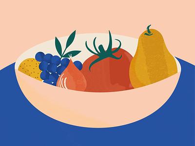 Bowl of Fruit design pastels illustraion grapes produce pear tomato bowl of fruit