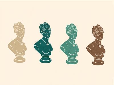 Greek Bust Illustration for Serendipitous Project odalisque fine art greek bust package design branding design illustration