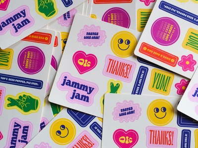 Stickers for Jammy Jam typogaphy illustration minneapolis sticker design stickers package design packaging package design