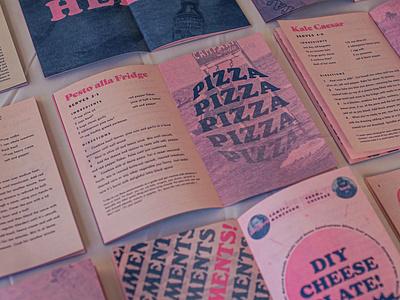 Tiny Italian Cookbook typogaphy risoprint risograph typography pastels illustration design