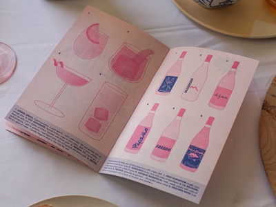 Tiny Italian Cookbook Beverage Page package design risograph typography pastels illustration design