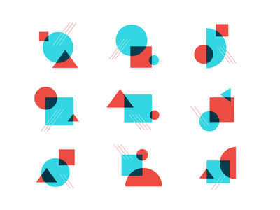 Hashtag Holidays shape compositions overlays shapes branding vector bauhaus