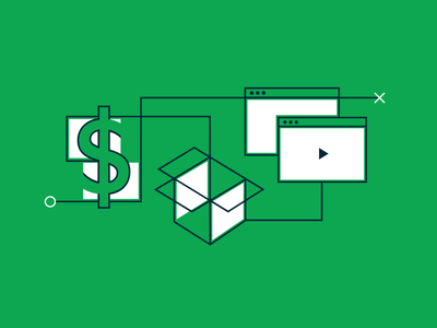 Price, package, pitch vector linework flat design