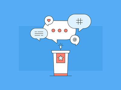 Social media in government government social-media illustration flat vector