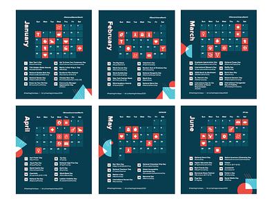 Hashtag Holidays calendar iconography calendar layout hashtaglettering design bauhaus