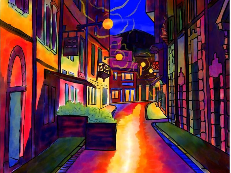 City at night ipadproart fresco adobe citylife color night city light art procreate background illustration
