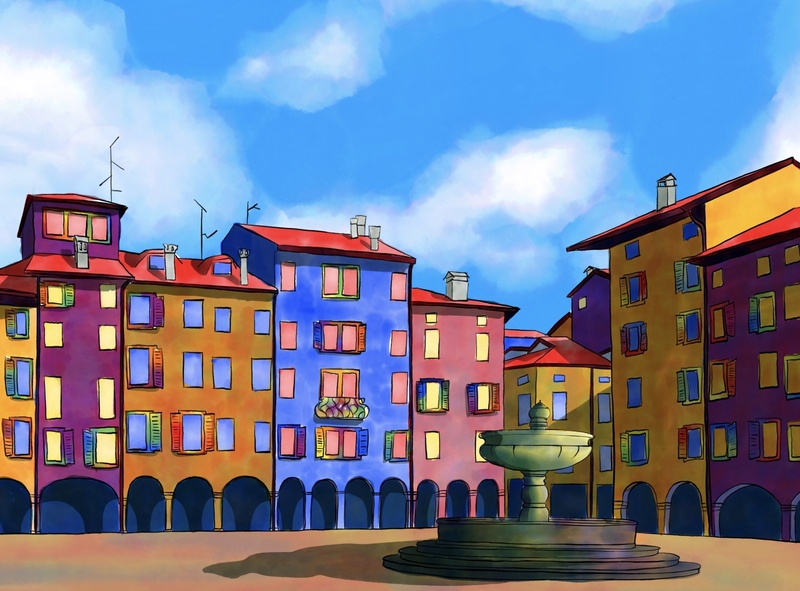 Sunny day in Italy watercolor fresco adobe drawing color art city light background illustration