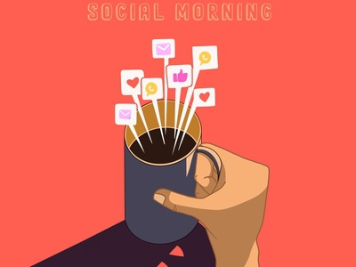 Good social morning! lifestyle coffee socialmedia social network icon logo infographic procreate background illustration