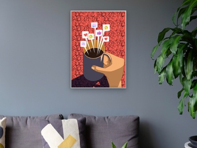 Hello world! mockup good vibes everyday coffee cup coffe light procreate background illustration socialmedia