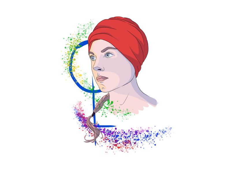 International Women's Day — self portrait 8march ipadproart woman digital color girl character drawing art procreate background illustration