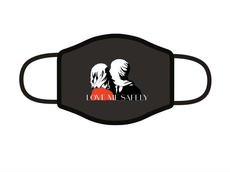 Mask rebound coronavirus rebound mask kiss love art character branding logo design illustration