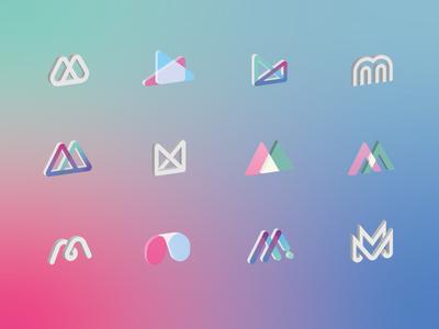 Mmm Material 3d type identity icon set material letter mark background illustration vector branding logo
