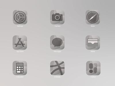 iOS14 Icon Pack - Grey Scale monochrome iconpack ios ios app logo design ux vector illustration background ui greys greyscale ios14 icon design icons icon set