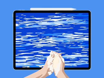 Ipad Pro - Washing Hands cleaning ipad creative background hands ipad pro blue and white blue color design drawing procreate illustration