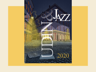 Udin&JazzFestival2020 poster illustration event editorial drawing city comic bar background