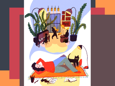 My dream studio woman music love light illustration house girl flat drawing digital concept color characterdesign character cat background art