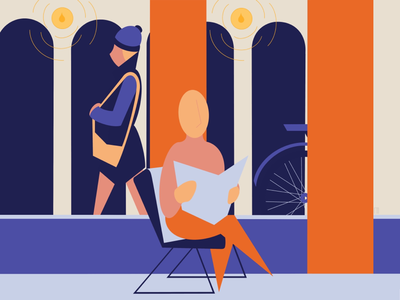Reading time orange woman minimal girl man color geometric clean character design blue illustrator book city background illustration