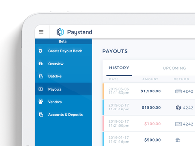 Paystand's new logo in their product UI design ui logo blockchain fintech logo design icon design