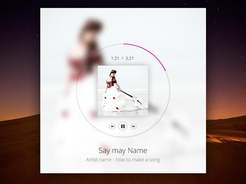 Free Music Player PSD With Album Light/Dark - Free PSD music player free psd album player free music player