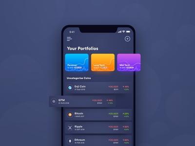 Crypto app UI - Dark