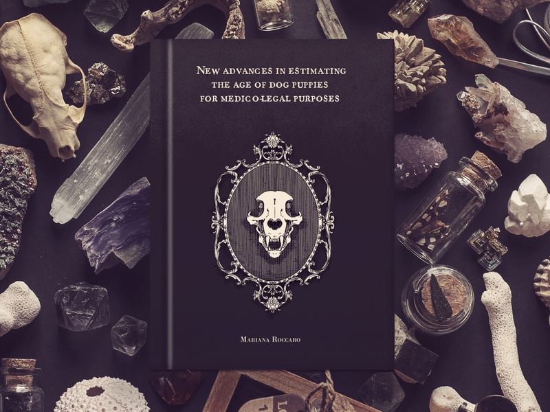ESOT/aesthetic - Goth Vet book cover books cover art mockup dog skull dog puppy dark artist dark art darkart skull veterinarian veterinary thesis booklet dark cover artwork cover design book cover book cover