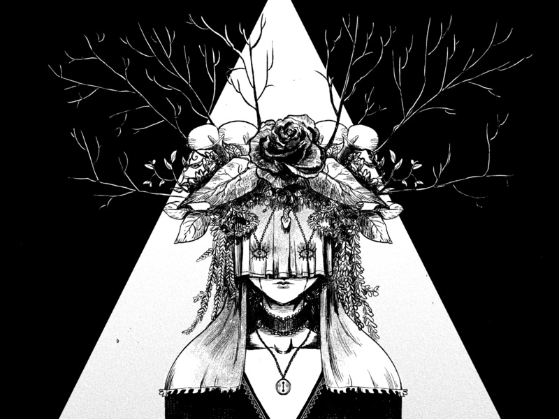 ESOTH/aesthetic - flower lady dark art direction horror designstuff digital macabre doodle blackwhite illustration