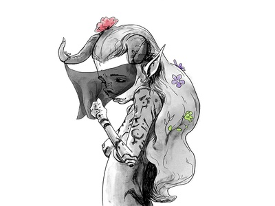 Shy flowers demon hair horror lady macabre shy blackwhite doodle illustration