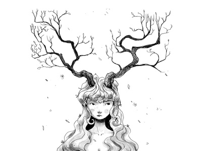 Crooked branches horns nature lineart crooked blackwhite doodle illustration