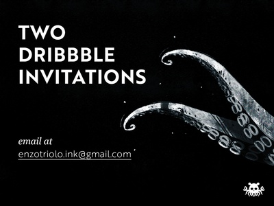 Dribbble Invitations brush illustrator photoshop illustration ticket portfolio two invitation dribbble