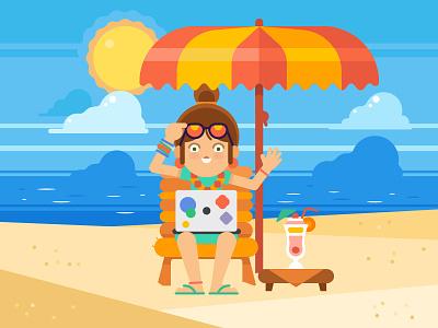 Digital Nomad illustration work beach digital nomad toptal developer