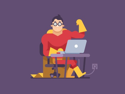 Nerds that Flex  toptal desk laptop superhero muscle flex art illustration